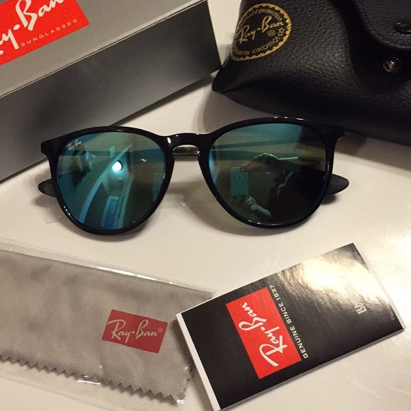 8ef826bbdae1b Erika ray ban Black gunmetal blue mirror lense nib